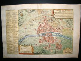 De Fer 1724 Folio Hand Colored Map Plan. Paris City Plan 19, France
